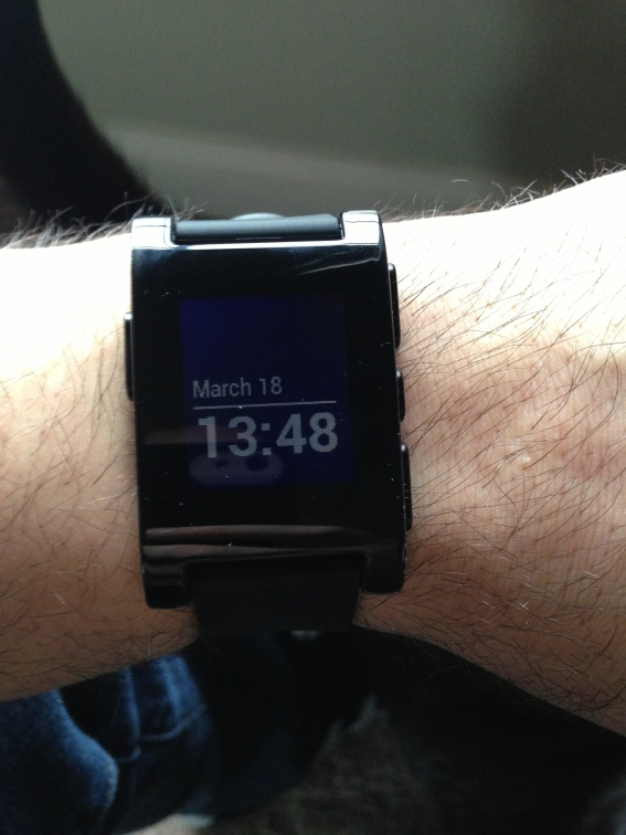 View of one of the Pebble watch faces.